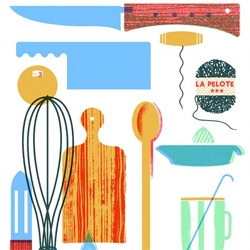 """Oooh design*sponge shares """"beautiful illustrations by blexbolex for i know how to cook by ginette mathiot."""""""