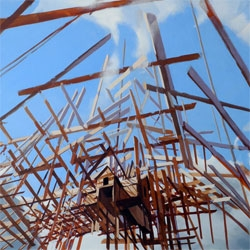 Beautiful paintings by Ben Grasso feature exploding architectural forms.