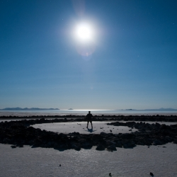 Full moon beneath Great Salt Lake's Spiral Jetty. Robert Smithson's Spiral Jetty from 1970 is among the most important examples of land art during the twentieth century.