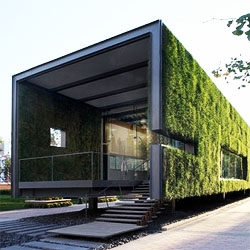 A temporary Green Showroom in Beijing by Vector Architects. With the grass walls, they literally accomplished something green.