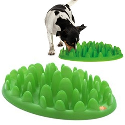 Green Interactive Feeder - interesting dog feeder that helps dogs slow down while eating
