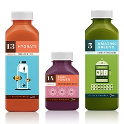 Martin Azambuja designed these great cold pressed juice labels for Kaffe 1668 in NY.