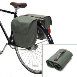 A very smart bike satchel from Linus Bikes.  It rolls up when not in use, and even comes with a shoulder strap so it can be used as a messenger bag.