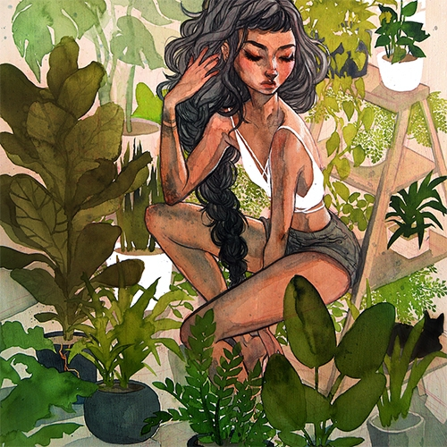 "Jacquelin de Leon's Greenhouse Print. From her solo show from June 2017, about growth. The original piece is a large 18x24"" watercolor illustration on wooden panel (which goes on sale 12CT July 3!)"
