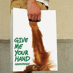 "Another simple and creative action using bags. The Dentsu, Beijing, China developed this policy for Greenpeace to promote human consciousness and that the ill-treatment to the animals and ultimately we can ""give us your hands"" and live in harmony with them!"