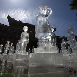 Ice Sculptures Mark 100 Days Until Copenhagen Climate Summit100! These child-sized ice sculptures sit in Beijing's Temple of Earth to represent the 1 billion lives that will be lost in Asia due to water shortages caused by climate change.