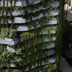 Capella Garcia Arquitectura's living garden wall debuts in Barcelona, transforming an urban street corner.