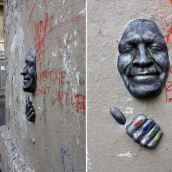 Using plaster and acrylic, Gregos started to display painted replicas of his face on city walls over three years ago.