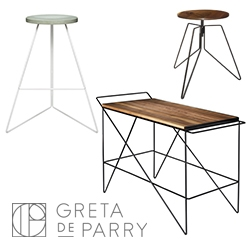 Greta de Parry has a lovely collection of minimal wood/concrete/metal furniture.