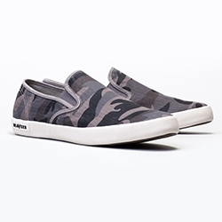 Grey Camo Twill! Loving this color/print on the new SeaVees Baja Slip On Mojaves - so comfy too.