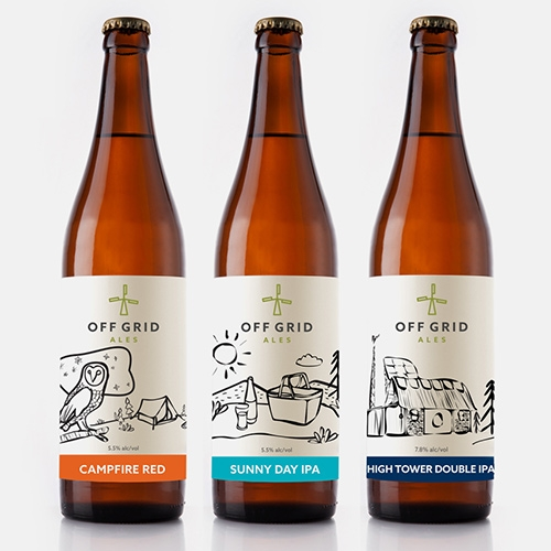 Packaging design for Off Grid Ales, a craft brewery powered by wind and solar energy. Design by The Details.