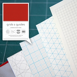 Grids & Guides Notebook (in red!) - a peek inside the 8 various grid/textures and the surprising dividers filled with random info you just may need.