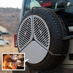 Front Runner Spare Tire Braai/BBQ Grate - Laser cut stainless steel grill on solid steel legs that hooks right over your spare wheel.