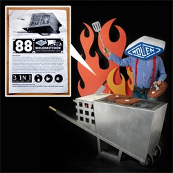 MolenKitchen ~ beyond the awesome photoshoot (complete with corrugated cardboard goodies), this product turns into barbecue, firebasket with spit, and smoker ~ with customizable grill and brands!