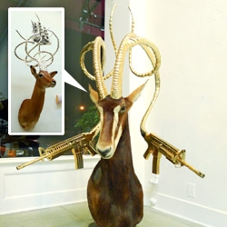 "A peek into Gallery 1988's newest show - Peter Gronquist ""The Evolution Will Be Fabulous"" - a  mix of gilded luxe brands, weaponry, skeletons and taxidermy..."