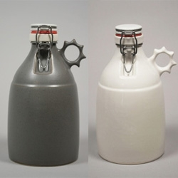 Portland Growler Company has beautiful growlers - Made in Portland OR. Hand slip-cast stoneware growler. Holds in the cold for all of your 64 fluid ounces. Widemouth ceramic flip top with rubber seal.
