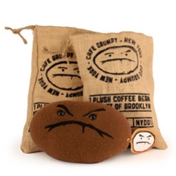 "Grumpy Bean Plushes~ ""Artist Andrew Bell and plush master Lana Crooks bring our Cafe Grumpy coffee bean logo to life!"""