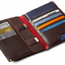 This is the güs passport folio.  This unique folio has pockets for everything from a passport to sim cards. All of this in a sleek profile that fits in a pocket.