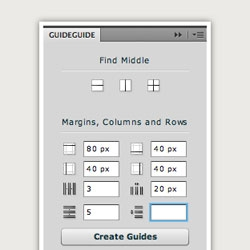 GuideGuide: a columns, rows and midpoints panel for Photoshop CS4 & CS5 from Cameron McEfee.