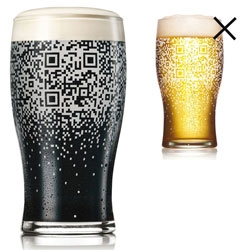 Brilliant Guinness QR Code Pint Glass ~ where the code only works when filled with a Guinness (or something equally dark)