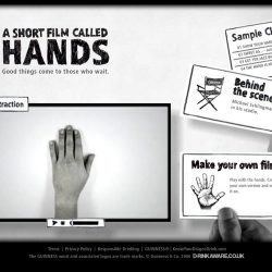 "good friend of mine was part of the  team who made this site! ""as Guinness expounds on it's ""good things come to those who wait"" tag with a visually mesmerizing short film from animator/director Michael Schlingmann titled ""Hands."""""