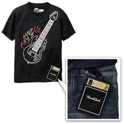 Old Navy ThinkGeek playable tees! Guitar and Drum tshirts with mini speakers attached...