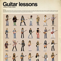Guitar Lessons - Illustrator Max Dalton has created a new poster featuring the rock guitar heroes of all times. Lovely!
