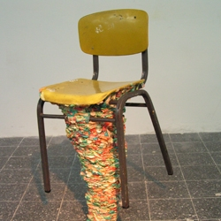 the hidden potential in the cultured activity of sticking chewed bubble gum under the chair ( a shared work with adi meirtchak)