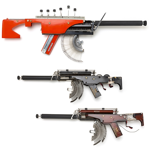 Éric Nado's collection of Typewriter Guns are stunning. From vintage typewriter to sculptural weaponry.