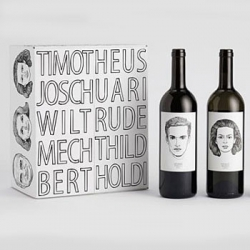 Every human has its own individual character ranging from young to mature, playful to complex. The Gut Oggau wine is no different. Designer Jung von Matt assigned comic-like style faces, names and their stories to the wine packaging.