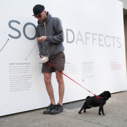 SoundAffects, an experiential project by Parsons The New School for Design. Plug earphones into the listening wall on Fifth Ave and 13th St. to hear street activity as music. Online, music plays with a visualizer + live street view.