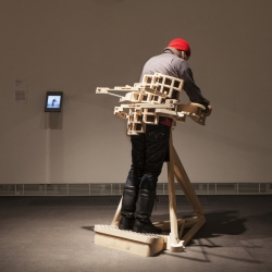 'Mechanics Of Hugging' by Petri Eskelinen is a wooden hugging machine. No electricity.