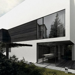 H-house, designed by Poland based architect, Tamizo architects group. Minimal design on the elevation as a result of complying the restrictions of the local law - maximum of 3 different materials on the elevation.