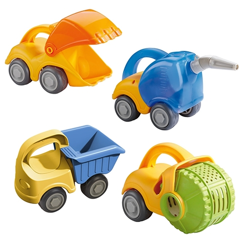 HABA Sand Play collection - Excavator, Tanker Truck, Dump Truck, and Steam Roller. Adorable beach toys on wheels!