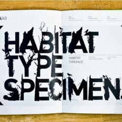The Habitat typeface was part of the installation 'Habitat de Rotte', a floating habitat for birds on the small river de Rotte in Rotterdam (NL). The Habitat Type Specimen contains 40 pages and is bound with an open back.