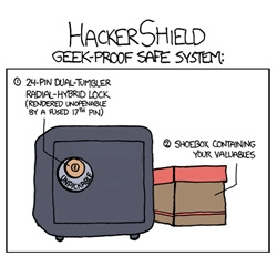 Great XKCD on the Geek Proof Safe System. (Always go for the shoebox first?)