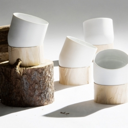 Haijk is a flowerpot that is guided by the logic of the plants growing patterns. The base is made out of pine and comes with a small map that shows where the tree is harvested and from which part of the tree it has it's origin. By Swedish RVW.