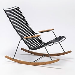 Houe CLICK Rocking Chair designed by Henrik Pedersen. Black plastic lamellas. Armrests, and runners in bamboo. Legs are gray powder coated metal. Also comes in gray, white, multicolored.