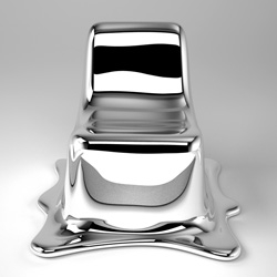 The Melting Chair by Philipp Aduat ~ beautifully sculptural, and so very terminator like with its liquid metal looking form.