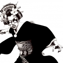 A mix a Japanese traditions and modern style, Shohei Otomo (Hakuchi) manga illustrations are pretty amazing !