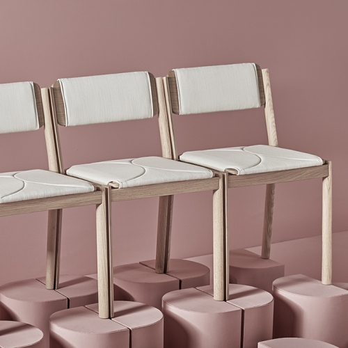 "HALF semi circular legs shaped in ""halves"" and seat perfectly complement each other. They end up creating a full circle when placed next to each other. Designed by Cuatro Cuatros for Missana."