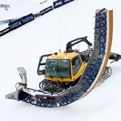 The Zaugg Pipe Monster is a 22 foot tall attachment that carves half pipes, like the one currently at the 2013 Winter X Games.
