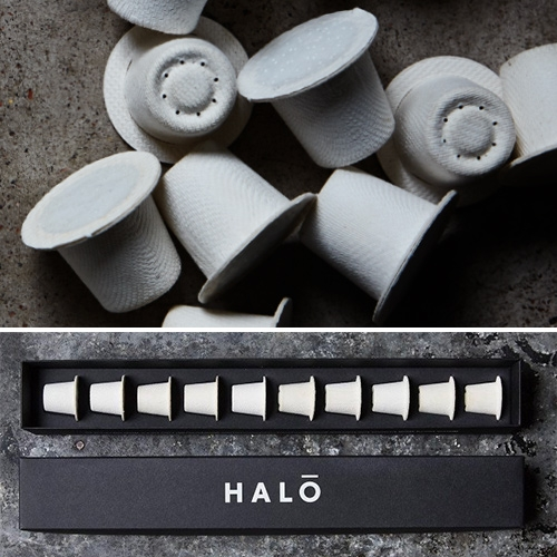 "Halo Coffee ""The world's best coffee in a way that's best for the world."" Halo capsules are biodegradable and nespresso compatible. Made of completely natural blend of bamboo and paper pulp."