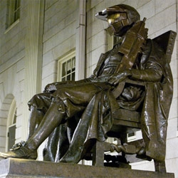 In recognition of the release of Halo 3, a highly anticipated video game by Microsoft and Bungie, MIT hackers adorned the John P. Harvard statue, in Harvard Yard, with a Spartan helmet.