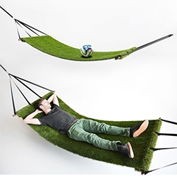 "Studio Toer Field Hammock - ""This hammock displays the control humanity got over the fields. Floating above ground, on slowly waving grass."""