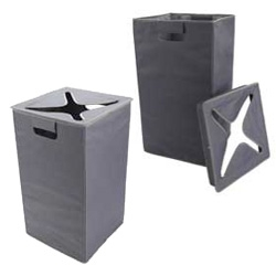 Oxo's new Flip In Hamper ~ nice idea to have a lid to your laundry without having to open it to put clothes in...