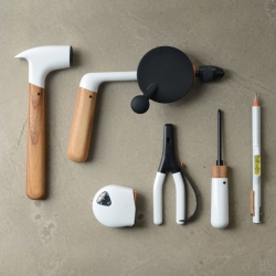 This unique set of hand tools from ChauhanStudio -a London based industrial design practice founded by Tej Chauhan- are designed to turn a once industrial item into a tool that will fit in outside of the workshop.