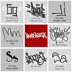 Handselecta works with famous graffiti artists to turn their signature calligraphy into fonts.