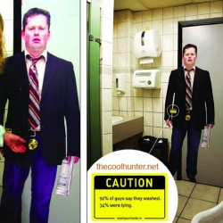Slapping life sized decals over the door on the way out of men's bathrooms, JWT Toronto is drawing attention to hands and germs and things that spread.
