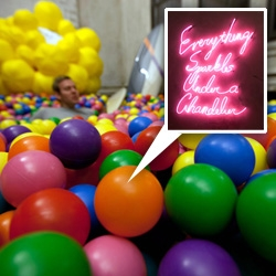 A peek inside the studio of Chandelier Creative ~ from wine in the ballpit with skateboards and friends with you inflatables to moooi horse lighting, giant doors, neon lighting, and more...